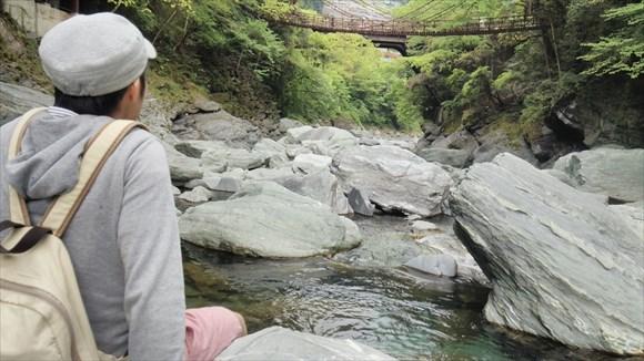 河原からかずら橋を眺める