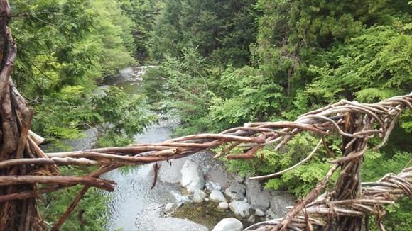 奥祖谷の二重かずら橋からみた風景