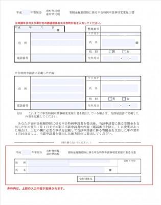 川崎市の寄附金税額控除に係る申告特例申請事項変更届出書