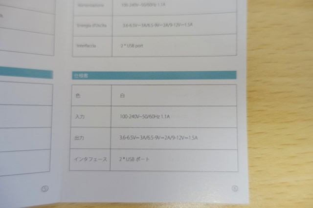 dodocoolの 2ポートQC3.0急速充電器 日本語対応説明書