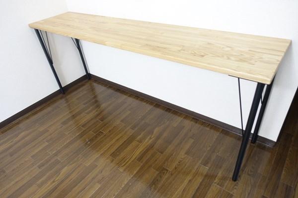 タモ材の鉄脚カウンターテーブル