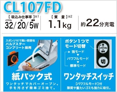 CL107FD 機能一覧