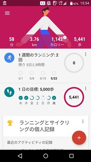 google fitアプリ トップ画面